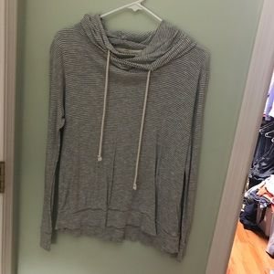 J. Crew gray striped pullover hoodie medium